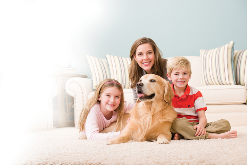 happy family on clean carpet