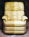 Leather recliner half and half